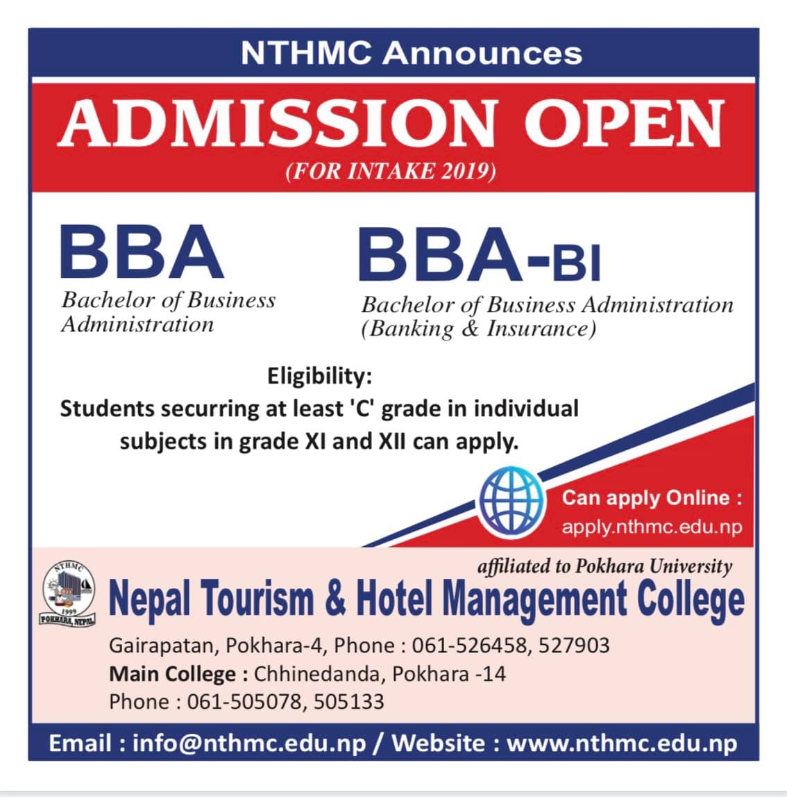 Admission open for BBA, BBA-BI 2019